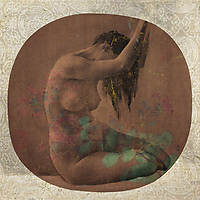 Sensual classical nude with botanical overlays.