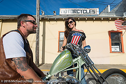 Kelly Simmons of Robison's Motorcycles and Scot Hoepker of Chemical Candy paint on a Jim Harper built (Jim's Choppers) Harley-Davidson Shovelhead at the Biltwell Bash at Robison's Cycles during Daytona Bike Week 75th Anniversary event. FL, USA. Friday March 11, 2016.  Photography ©2016 Michael Lichter.