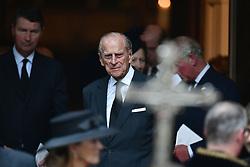 The Duke of Edinburgh leaving the funeral of Countess Mountbatten of Burma at St Paul's Church, Knightsbridge, London.