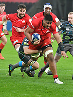 Rugby Union - 2019 / 2020 European Rugby Heineken Champions Cup - Pool Four: Ospreys vs. Saracens<br /> <br /> Will Skelton of Saracens attacks, at the Liberty Stadium.<br /> <br /> COLORSPORT/WINSTON BYNORTH