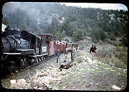 """RGS #74 with a RMRRC trip southbound with caboose #0400, two gondolas, coach #311 and """"Edna"""".<br /> RGS  Pleasant Valley, CO  5/28/1949<br /> Companion photos at RD125-070, RD125-088, RDS018-002, RDS075-080 and RDS079-091.<br /> Thanks to Don Bergman for additional information."""