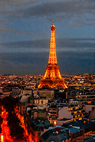 Eiffel Tower at sunset, Paris, France.