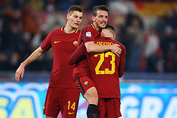 February 11, 2018 - Rome, Italy - Patrik Schick with Alessandro Florenzi and Gregoire Defrel of Roma celebrate during the serie A match between AS Roma and Benevento Calcio at Stadio Olimpico on February 11, 2018 in Rome, Italy. (Credit Image: © Matteo Ciambelli/NurPhoto via ZUMA Press)