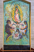 Religious artwork. Mosaic of the Madonna and Child from Mexico at the Basilica of the Annunciation, Israel, Nazareth