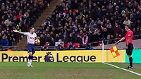 Football - 2018 / 2019 Premier League - Tottenham Hotspur vs. Manchester City<br /> <br /> Kieran Trippier (Tottenham FC)  protests to the linesman as yet another Tottenham attack is stopped by the offside flag at Wembley Stadium.<br /> <br /> COLORSPORT/DANIEL BEARHAM