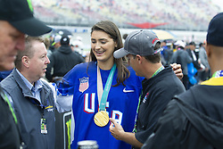 June 10, 2018 - Brooklyn, Michigan, U.S - MEGAN KELLER (5) shows off the gold medal she won at the 2018 olympics in South Korea at Michigan International Speedway. (Credit Image: © Scott Mapes via ZUMA Wire)