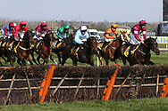Apples Jade and Jack Kennedy lead Clyne with Adam Wedge and Sam Spinner ridden by Joe Colliver into the first hurdle in the 3.40pm The Ryanair Stayers' (Registered as the Liverpool) Hurdle (Grade 1) during the Grand National Meeting at Aintree, Liverpool, United Kingdom on 6 April 2019.