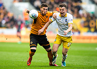 Wolverhampton, England:Saturday 28h April,2018- Football-2017/2018 Sky Bet Championship. Wolverhampton Wanderer's Matt Doherty in action against Sheffield Wednesday's Jordan Thorniley during the match between Wolverhampton Wanderers and Sheffield Wednesday at the Molineux Stadium. COLORSPORT/LAURA MALKIN
