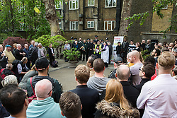 London, UK. 30th April 2019. Survivors of the Admiral Duncan bombing, families and friends of the victims and the LGBTQ community attend a service of remembrance outside St Anne's church in Soho to mark 20 years since the attack. Three people were killed and 79 injured when a bomb packed with up to 1,500 four-inch nails was detonated by a neo-Nazi at the Admiral Duncan on 30th April 1999.