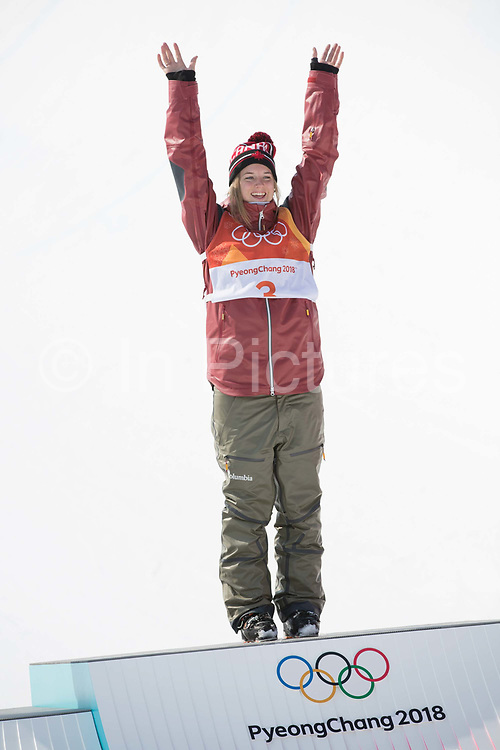 Cassue Sharpe, Canada, during the womens skiing halfpipe flower ceremony at the Pyeongchang 2018 Winter Olympics on February 20th 2018, at the Phoenix Snow Park in Pyeongchang-gun, South Korea
