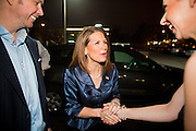 "11 DECEMBER 2011 - SCOTTSDALE, AZ:    Congresswoman and Republican Presidential hopeful MICHELE BACHMANN (center) arrives for a fundraiser sponsored by Politics on the Rocks at the Mint in Scottsdale Sunday. The Mint is a popular bar and restaurant built in a former bank in Scottsdale, AZ. Politics on the Rocks was started by Charles A. Jensen in Scottsdale, Arizona. The purpose of ""Politics on the Rocks"" is to bring Republican & Conservative Professionals together in a monthly happy hour where they can network, socialize, and hear directly from prominent politicians and successful business leaders.     PHOTO BY JACK KURTZ"