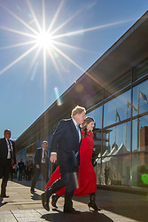 © Licensed to London News Pictures. 06/10/2021. Manchester, UK. Prime Minister Boris Johnson & his wife Carrie on the fourth & final day of the Conservative Party Conference in Manchester. Photo credit: Andrew McCaren/LNP