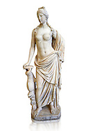 2nd - 1st century BC Roman marble sculpture of Aphrodite (Venus), 'Marine Venus' Type with a dolphin, copied from a Hellanistic Greek original,  inv 6296, Museum of Archaeology, Italy, white background ..<br /> <br /> If you prefer to buy from our ALAMY STOCK LIBRARY page at https://www.alamy.com/portfolio/paul-williams-funkystock/greco-roman-sculptures.html . Type -    Naples    - into LOWER SEARCH WITHIN GALLERY box - Refine search by adding a subject, place, background colour, etc.<br /> <br /> Visit our ROMAN WORLD PHOTO COLLECTIONS for more photos to download or buy as wall art prints https://funkystock.photoshelter.com/gallery-collection/The-Romans-Art-Artefacts-Antiquities-Historic-Sites-Pictures-Images/C0000r2uLJJo9_s0