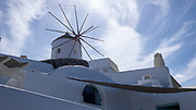 Low angle view of a windmill in Oia, Santorini, Greece