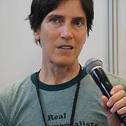 London, England, UK. 20th October 2017. Christine Vardaros - Vegan cyclist talk for Vegan Sports Stars at The First VegfestUK Trade at Olympia London, UK