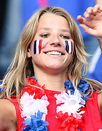 09 July 2006: Unidentified France fan in the stands of the Olympiastadion, pregame. Italy tied France 1-1 in overtime at the Olympiastadion in Berlin, Germany in match 64, the championship game, of the 2006 FIFA World Cup Finals. Italy won the World Cup by defeating France 5-3 on penalty kicks.