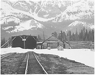 """West side (southbound side) view of RGS snowshed, section house and other facilities at Lizard Head.<br /> RGS  Lizard Head, CO  ca. ? 1952<br /> In book """"Rio Grande Southern II, The: An Ultimate Pictorial Study"""" page 275"""