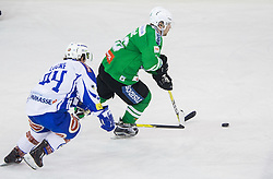 Corey Locke (EC VSV), Ales Music (HDD Olimpija) during ice-hockey match between HDD Olimpija Ljubljana and EC VSV in EBEL League 2016/17, on February 19, 2017 in Hala Tivoli, Ljubljana, Slovenia. Photo by Vid Ponikvar / Sportida