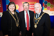 Cllr Mary Hoade with  Padraig O' Callaghan, Chairman St. Columba's Credit Union and Cllr Donal Lyons Mayor of Galway at the annual SCCUL Enterprise Awards prize giving ceremony and business expo which was hosted by NUI Galway in the Bailey Allen Hall, NUIG. Photo:Andrew Downes