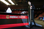 Mark Selby (Eng) walks past the trophy as he is announced to the crowd before the match.  Barry Hawkins (Eng) v Mark Selby (Eng) , Quarter-Final match at the Dafabet Masters Snooker 2017, at Alexandra Palace in London on Friday 20th January 2017.<br /> pic by John Patrick Fletcher, Andrew Orchard sports photography.