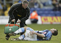 Photo: Aidan Ellis.<br /> Mansfield Town v Wycombe Wanderers. Coca Cola League 2. 24/02/2007.<br /> Wycombe's Scott McGleish is treated for an injury
