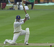 Shenley Middlesex Sri Lanka Tour Match<br /> Middlesex vs Sri Lanka <br /> Photo Peter Spurrier<br /> 11/05/2002<br /> Sport - Cricket - Middlesex vs Sri Lanka -Shenley:<br /> Sri Lankan  Capt, Atapattu, watches his strike, go through to the boundary. [Mandatory Credit:Peter SPURRIER;Intersport Images]