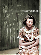 """Vintage Mugshots in colour<br /> <br /> Mug shot of Valerie Lowe, 15 February 1922, Central Police Station, Sydney.<br /> <br /> Valerie Lowe and Joseph Messenger were arrested in 1921 for breaking into an army warehouse and stealing boots and overcoats to the value of 29 pounds 3 shillings. The following year, when this photograph were taken, they were charged with breaking and entering a dwelling. Those charges were eventually dropped but they were arrested again later that year for stealing a saddle and bridle from Rosebery Racecourse. In 1923 Lowe was convicted of breaking into a house at Enfield and<br /> <br /> stealing money and jewellery to the value of 40 pounds. See also 'Mug shot of Joseph Messenger.'<br /> <br /> This picture is one of a series of around 2500 """"special photographs"""" taken by New South Wales Police Department photographers between 1910 and 1930. These """"s<br /> <br /> constructed out of a potent alchemy of inborn disposition, personal history, learned habits and idiosyncrasies, chosen personal style (haircut, clothing, accessories) and physical characteristics.""""<br /> ©Frédéric DurIiez/Exclusivepix Media"""