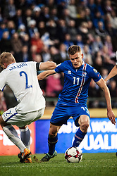 September 2, 2017 - Tampere, Finland - Iceland's Alfred Finnbogason and Finland's Paulus Arajuuri during the FIFA World Cup 2018 Group I football qualification match between Finland and Iceland in Tampere, Finland, on September 2, 2017. (Credit Image: © Antti Yrjonen/NurPhoto via ZUMA Press)