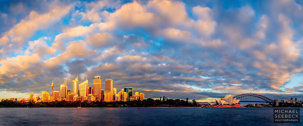 A high quality high resolution panoramic photograph of Sydney, featuring the CBD, Opera House, and Harbour Bridge.<br /> <br /> Code: CANM0002<br /> <br /> Limited Edition of 125 Prints