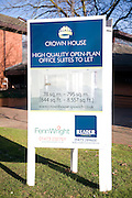 Advertising board for office space to let, Crown House, Ipswich, Suffolk, England