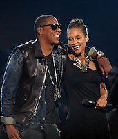 New York, NY-September 13, 2009: Jay-Z and Alicia Keyes perform during the MTV Video Music Awards at Radio City Music Hall on September 13, 2009 in New York City (Photo by Jeff Snyder/PictureGroup)