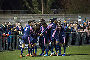Ashley Carew scores for Dulwich Hamlet FC following a 2 - 1 win against Eastbourne Borough at their first home game at Champion Hill on 26th December 2018 in South London in the United Kingdom.  The National League South team return to their home ground at Champion Hill following a 10 month eviction initiated by the clubs landlord, Meadow Residential. During the exile, local team Tooting and Mitcham United offered a groundshare at Imperial Fields.