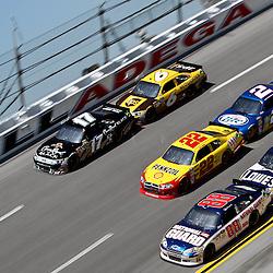 April 17, 2011; Talladega, AL, USA; NASCAR Sprint Cup Series drivers Matt Kenseth (17), David Ragan (6), Kurt Busch (22), Brad Keselowski (2), Dale Earnhardt Jr. (88) and Jimmie Johnson (48) during the Aarons 499 at Talladega Superspeedway.   Mandatory Credit: Derick E. Hingle