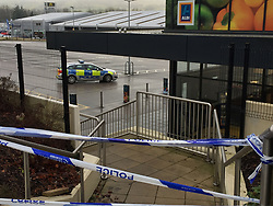 A police car by the Aldi in Skipton, North Yorkshire following the stabbing of supermarket worker Jodie Willsher, 30 on Thursday.