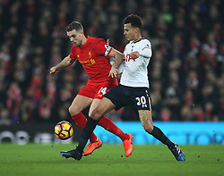 Jordan Henderson of Liverpool (L) and Dele Alli of Tottenham Hotspur in action - Mandatory by-line: Jack Phillips/JMP - 11/02/2017 - FOOTBALL - Anfield - Liverpool, England - Liverpool v Tottenham Hotspur - Premier League