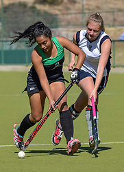 Kaylin Fourie of Pearson(green) and Olivia Levieux of St Stithians during day two of the FNB Private Wealth Super 12 Hockey Tournament held at Oranje Meisieskool in Bloemfontein, South Africa on the 7th August 2016, <br /> <br /> Photo by:   Frikkie Kapp / Real Time Images