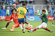 Neymar of Brazil and Guillermo Ochoa, Rafael Marquez of Mexico during the 2018 FIFA World Cup Russia, round of 16 football match between Brazil and Mexico on July 2, 2018 at Samara Arena in Samara, Russia - Photo Thiago Bernardes / FramePhoto / ProSportsImages / DPPI