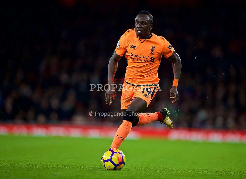 LONDON, ENGLAND - Friday, December 22, 2017: Liverpool's Sadio Mane during the FA Premier League match between Arsenal and Liverpool at the Emirates Stadium. (Pic by David Rawcliffe/Propaganda)