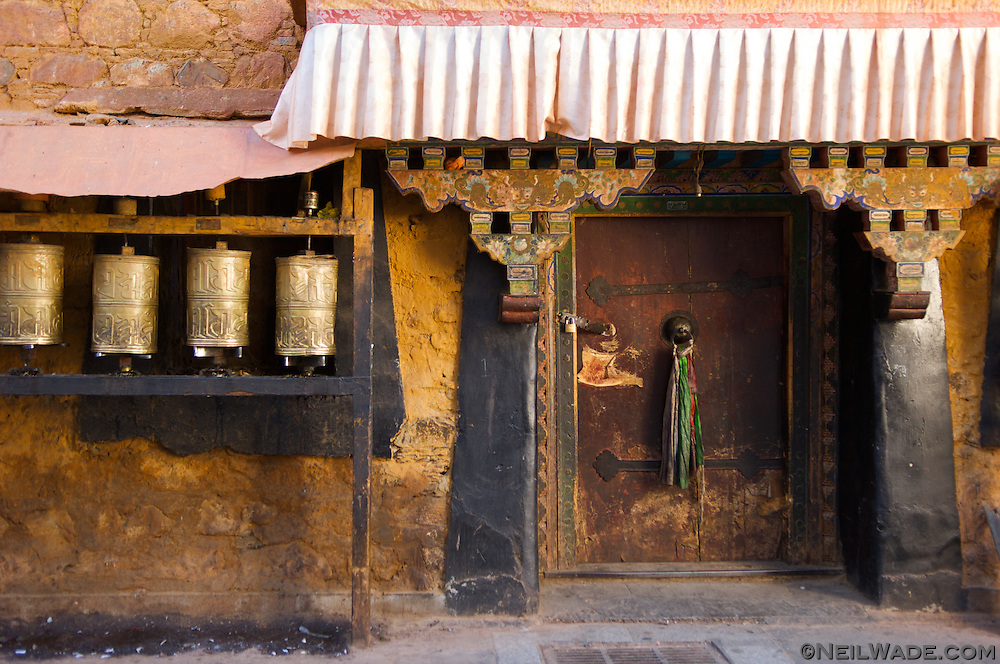 The entrance to a small Buddhist temple, found on the Barkor in Lhasa, Tibet.