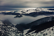 Winter clouds among the mountain ridges