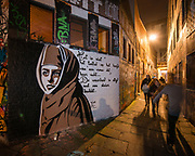 The appearance of the Werregarenstraat changes constantly. It is the legal place where streetartist can spray graffiti in ghent, belgium, 30.10.2014