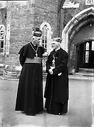 09/10/1956<br /> 10/09/1956<br /> 09 October 1956<br /> <br /> Bishops October Meeting at Maynooth<br /> <br /> Cardinal D'Alton, Archbishop of Armagh  and Primate of All Ireland (left)
