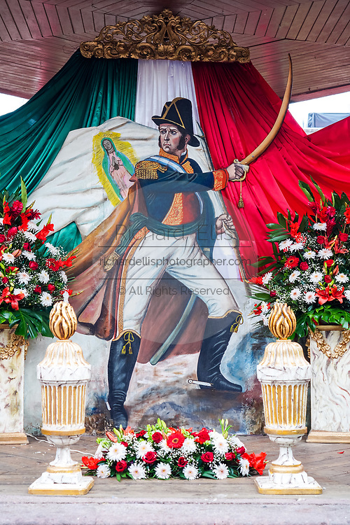 A shrine honoring Mexican Independence hero Ignacio Allende on display in the Plaza Allende to mark his 251st birthday January 21, 2020 in San Miguel de Allende, Guanajuato, Mexico. Allende, from a wealthy family in San Miguel played a major role in the independency war against Spain in 1810 and later honored by his home city by adding his name.