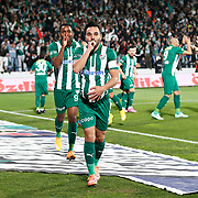 Bursaspor's Volkan Sen (C) celebrate his goal with team mate during the Turkish soccer super league match Bursaspor between Fenerbahce at the Ataturk Stadium in Bursa Turkey on Monday, 24 November 2014. Photo by Aykut AKICI/TURKPIX