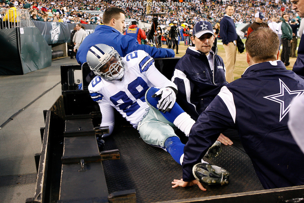 28 Dec 2008: Dallas Cowboys safety Keith Davis #29 is taken off of the field on a cart after an injury during the game against the Philadelphia Eagles on December 28th, 2008. The Philadelphia Eagles won 44-6 at Lincoln Financial Field in Philadelphia, Pennsylvania.