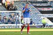 Portsmouth Forward, Oliver Hawkins (9) goal scorer applauding the fans at full time during the EFL Sky Bet League 1 match between Portsmouth and Fleetwood Town at Fratton Park, Portsmouth, England on 20 October 2018.