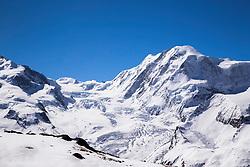 Grenz Glacier on a Blue bird day. Grenz Glacier is in the mountains above Zermatt Zwitzerland a stones throw from the Matterhorn