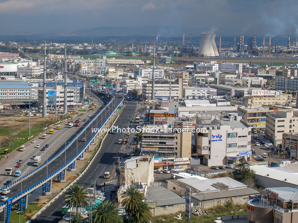 Petrochemical factory and Oil Refinery. Photographed in Haifa Bay, Israel