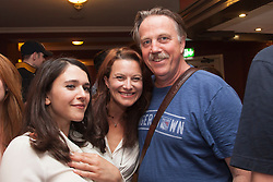© Licensed to London News Pictures. 29/06/2015.  London, UK. L-R: actors Selma Brook, left, and James Staddon, right, after the performance. Author Sebastian Faulks joins the Birdsong cast as he takes a role in the play at Richmond Theatre. Birdsong, adapted from the Sebastian Faulks novel by Rachel Wagstaff, is performed at Richmond Theatre until 4 July 2015 which finishes the UK tour. Photo credit: Bettina Strenske/LNP