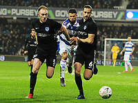 Football - 2018 / 2019 Emirates FA Cup - Fourth Round, Replay: Queens Park Rangers vs. Portsmouth<br /> <br /> l-r Matthew Clarke, Nahki Wells (QPR) and Christian Burgess, at Loftus Road.<br /> <br /> COLORSPORT/ANDREW COWIE